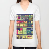 cigarette V-neck T-shirts featuring cigarette collection by gzm_guvenc