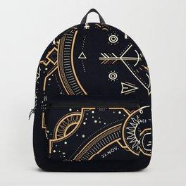 Sagittarius Zodiac Golden White on Black Background Backpack