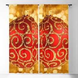 Christmas Bauble on Gold Blackout Curtain
