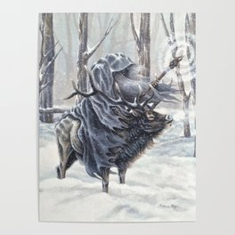 Wizard Riding an Elk in the Snow Poster
