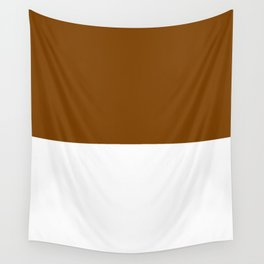 White and Chocolate Brown Horizontal Halves Wall Tapestry