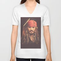 jack sparrow V-neck T-shirts featuring Jack Sparrow Digital Painting by Visionary Creations