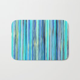 turquoise blue gold abstract striped pattern Bath Mat