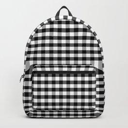 Large Jet Black Gingham Check Square Pattern Backpack