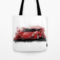 lamborghini Tote Bags featuring 1985 Lamborghini Countach by an.artwrok