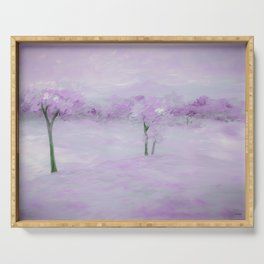 Purple Landscape with Trees Serving Tray