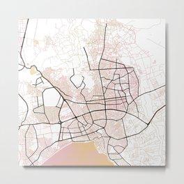 Antalya Street Map Art Watercolor Color Metal Print