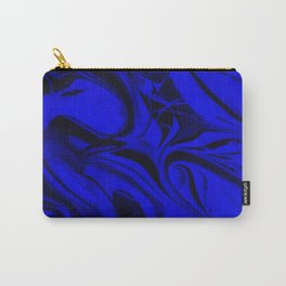 Black and Blue Swirl - Abstract, blue and black mixed paint pattern texture Carry-All Pouch