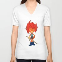 thundercats V-neck T-shirts featuring Lion-o by Christophe Chiozzi