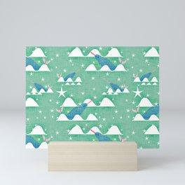 Sea unicorn - Narwhal green Mini Art Print