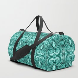Teal & White Curly Spirals Duffle Bag