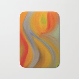 """Orange Blossom"" Original oil finger painting by Monika Toth Bath Mat"