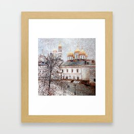 The Cathedral of the Dormition and Ivan the Great Bell Tower in the Moscow Kremlin Framed Art Print