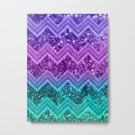 Unicorn Glitter Chevron #3 #shiny #decor #art #society6 Metal Print