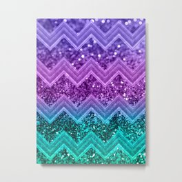 Unicorn Glitter Chevron #3 #shiny #decor #art #society6 Metal Print