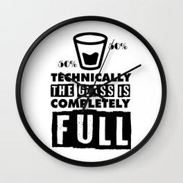 scientist optimist pessimist glass gift Wall Clock