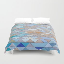 Triangle Pattern no.1 Blues and Browns Duvet Cover
