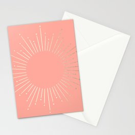 Simply Sunburst in White Gold Sands on Salmon Pink Stationery Cards