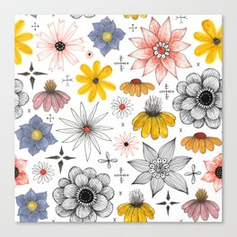 eclectic flower pattern Canvas Print