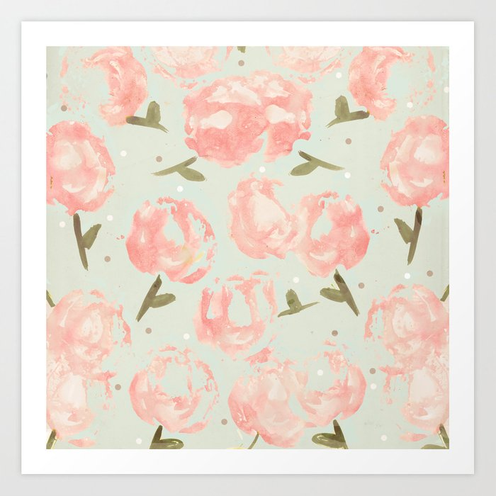 Syana's Cabbage Roses Art Print