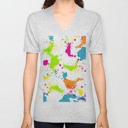 colorful paint blots Unisex V-Neck