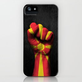 Macedonian Flag on a Raised Clenched Fist iPhone Case
