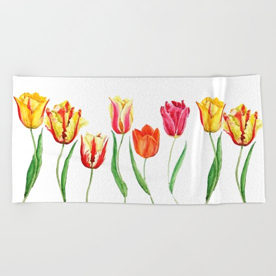 colorful tulips Beach Towel