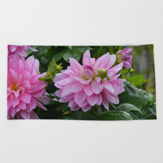 Fresh Rain Drops - Pink Dahlia Two Beach Towel