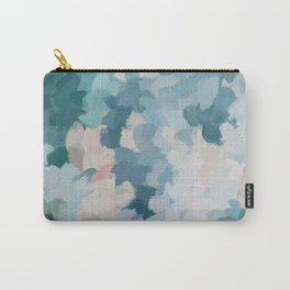 Mint Green Sky Blue Teal Blush Pink Abstract Nature Flower Wall Art, Spring Blossom Painting Carry-All Pouch