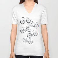 bikes V-neck T-shirts featuring BIKES YO! by TMSYO