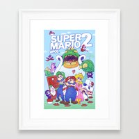 mario bros Framed Art Prints featuring Mario Bros. 2 nostalgia  by Damon Fernandez