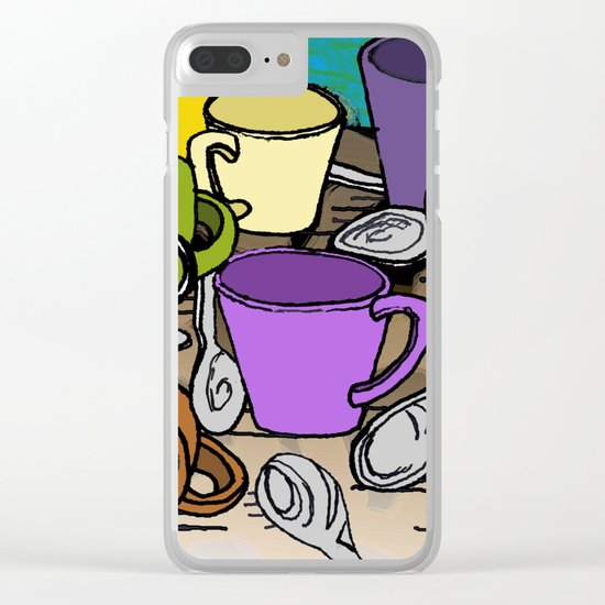 Cups and Spoons Clear iPhone Case