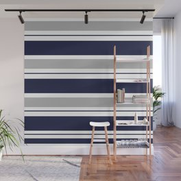 Navy Blue and Grey Stripe Wall Mural
