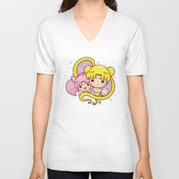 sailormoon V-neck T-shirts featuring Sailor Moon Princesses by Azul Piñeiro