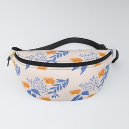 Floral Pattern Indigo Orange Blue Fanny Pack