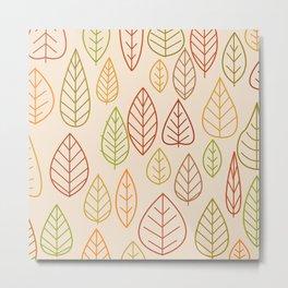 Geometric Leaves Empty Metal Print