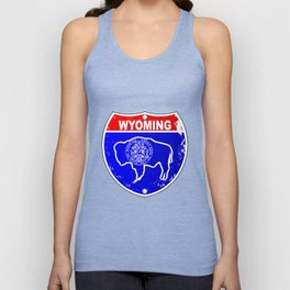 Wyoming Flag Icons As Interstate Sign Unisex Tank Top
