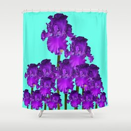 Contemporary Blue &  Purple Iris Garden Art Shower Curtain