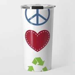 Peace Love Recycle Earth Day Environmental Awareness Travel Mug