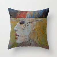 queen Throw Pillows featuring Queen by Michael Creese