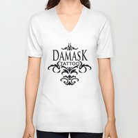damask V-neck T-shirts featuring Damask Tattoo  by Damask Tattoo