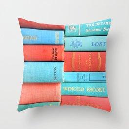 Pink and Aqua Book Stack Throw Pillow