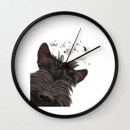 Curious Scottish Terrier Dog Wall Clock