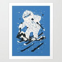 Skiing Yeti Art Print