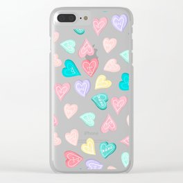 Modern pastel typography sweets heart love illustration pattern Clear iPhone Case