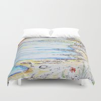 water colour Duvet Covers featuring water colour kaua'i by David Stone