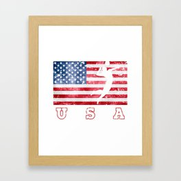 USA Volleyball - Flag of America Framed Art Print