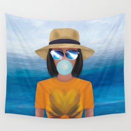 Bubble Gum girl Wall Tapestry