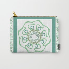 Hope Mandala with Border - Green White Carry-All Pouch