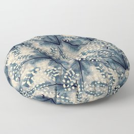 Ancona feathers - smooth beige with blue Floor Pillow